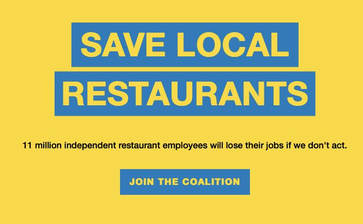 "Independent Restaurant Coalition ""Save local restaurants"" image"