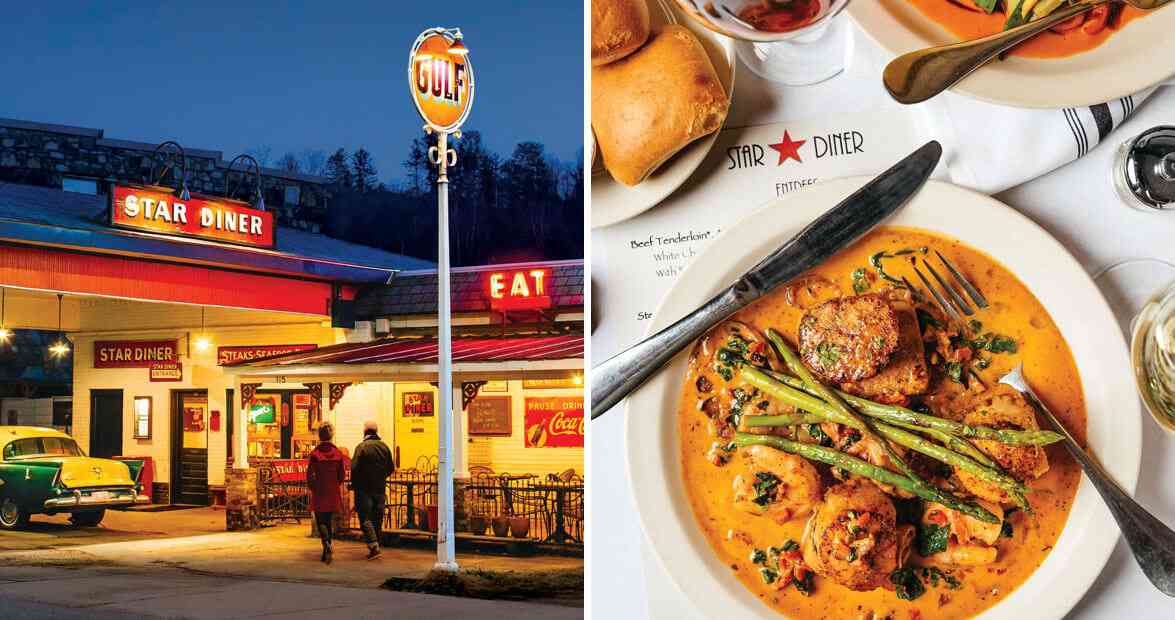 Our State magazine photos of the front of Star Diner, lit up at night & Sautéed Sea scallops & shrimp & grits
