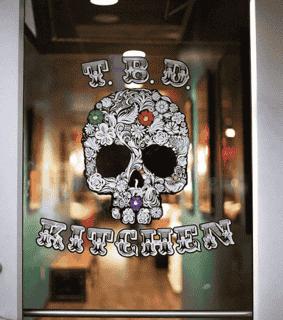 Door with logo decal