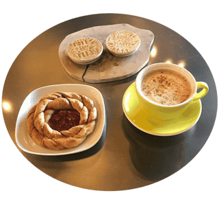 Pastries and coffee made by Daily Spark Coffee
