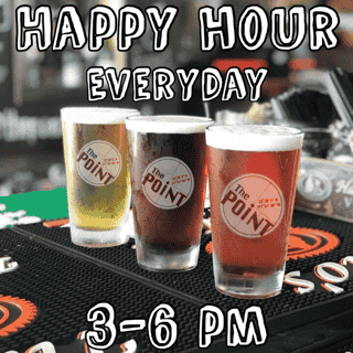 Happy Hour Everyday - Monday 3 to Close - Tuesday thru Sunday 3 PM - 6 PM