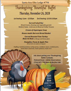 Thanksgiving Dinner - Call for Reservations 714-547-7794