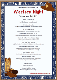 Western Night - 3rd Wednesday Monthly