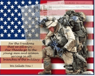 american flag with thank you to our soldiers