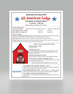All American Lodge Menu