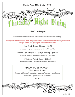Thursday Night Dining Weekly 06-22-2020