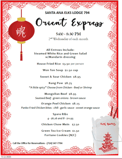 Orient Express Dinner - 2nd Wednesday Monthly
