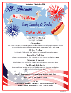 All American Hot Dog Menu - Weekly on Saturdays & Sundays (Except on Special Event Days)
