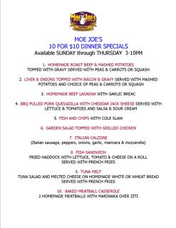 10 $10 Dinner Specials