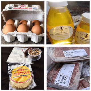 4 squares 1-a carton of 6 eggs 2-Bottle of Hudson Hives Honey 3-Package of La Vida Torillas and a bowl of unprocessed corn 4-Packages of Clover Luck Farm ground beef and sausage