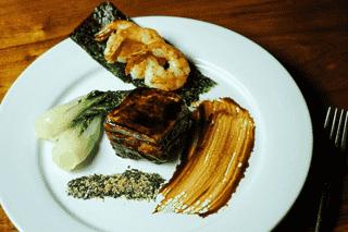 Sweet Soy Mirin Glazed Pork Belly and Garlic Sauteed Gulf Shrimp Appetizer