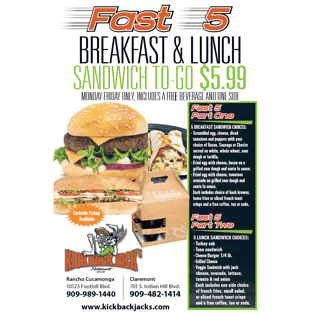 fast 5 breakfast & lunch