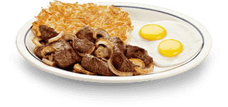 Sirloin Steak Tips n eggs