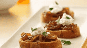 Beef Crostini with Onion Three-Way