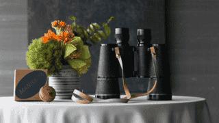 Manhatta Restaurant, Flowers, Binoculars on Table