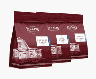 Bags of Red Barn Coffee