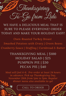 Thanksgiving Family Meals To-go
