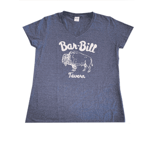 WOMEN'S BLUE BUFFALO V-NECK T-SHIRT