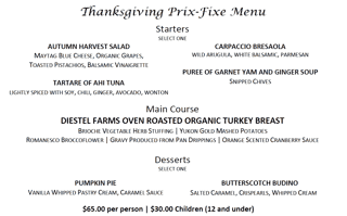 Thanksgiving Pre-Fixe Menu