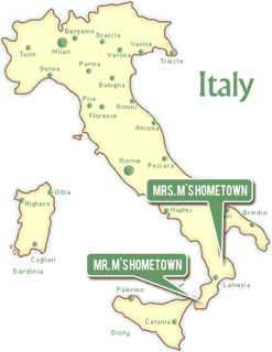 Map of Italy showing Mr. M's hometown and Mrs. M's hometown