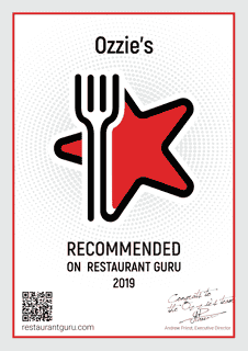 Award for Ozzie's from Restaurant Guru
