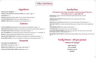 Special Take Out Only Menu