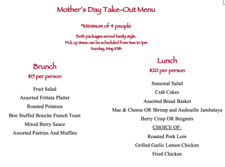 Mother's Day Take Out Menu