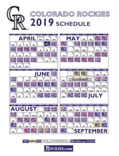 2019 colorado rockies schedule