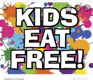 Wednesday~Kids Eat Free (Dine in only)