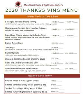Thanksgiving Sides & Entrees