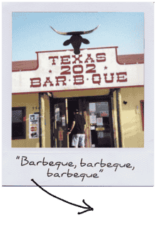 "texas 202 bbq ""barbeque, barbeque, barbeque"" polaroid"