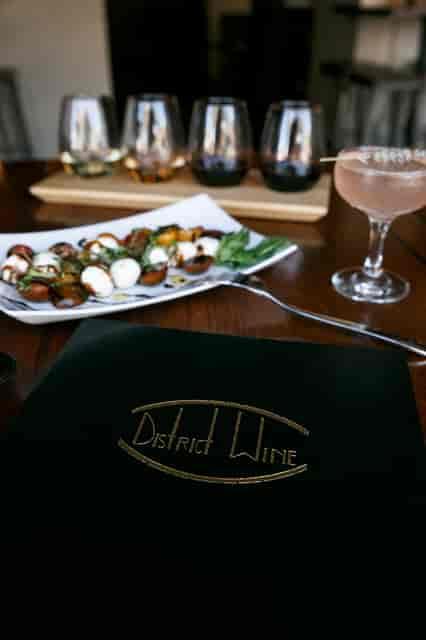 menu, salad, and wine flight