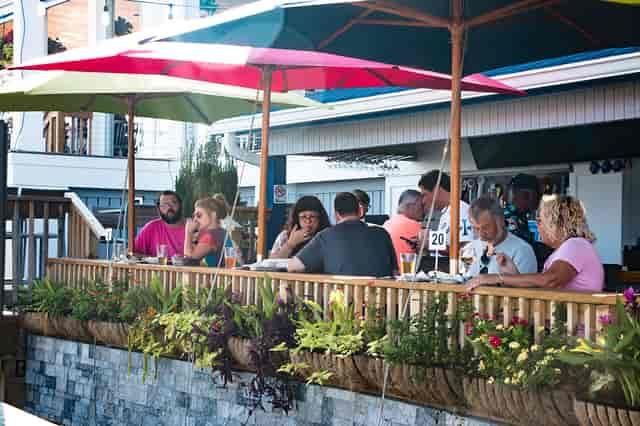 Patrons enjoying outdoor dining
