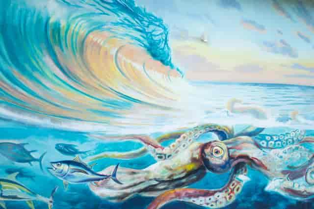 wall art of sea turtles