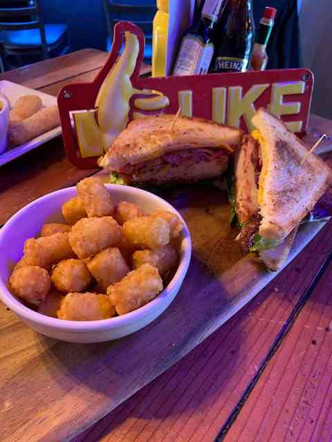 sandwich and tots