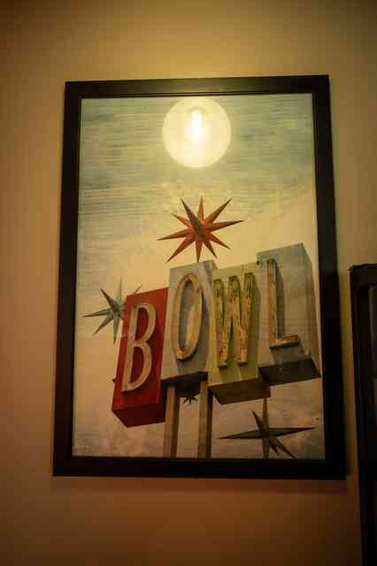 Art image that says BOWL in different colors