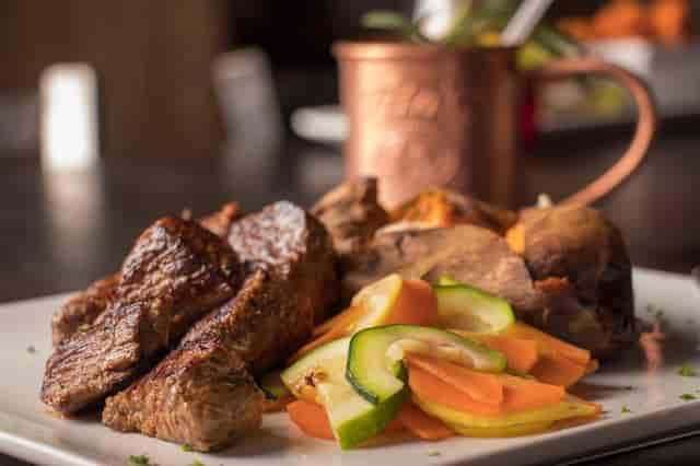 steak and veggies