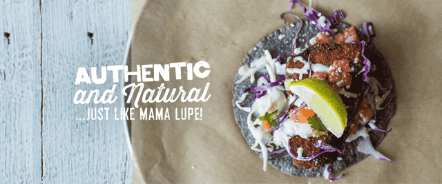 authentic and natural taco banner