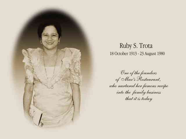 ruby s trota obituary - 10/18/1913 to 8/23/1980 - one of the founders of Max's Restaurant who nurtured her recipe into the family business it is today