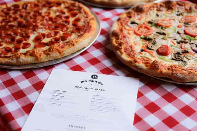 2 pizzas with menu