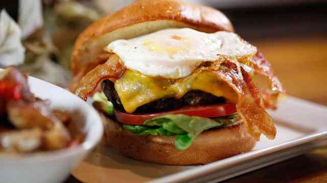 burger with bacon and egg