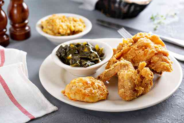 fried chicken and collard greens