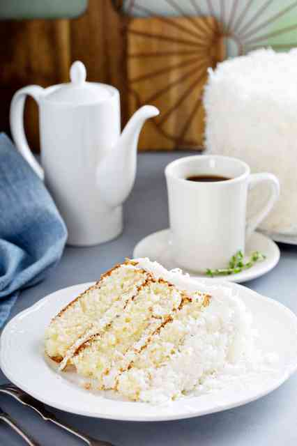 white cake with coffee
