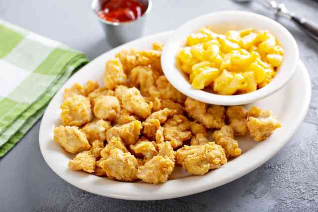 fried okra with mac and cheese