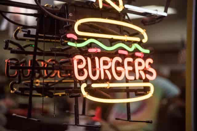 Neon burger sign