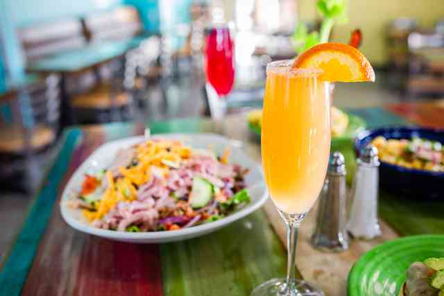 Mimosa with a salad