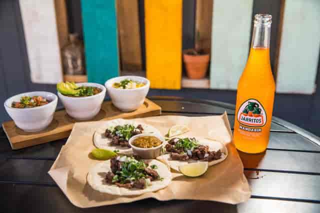 Tacos with Jarritos mexican soda