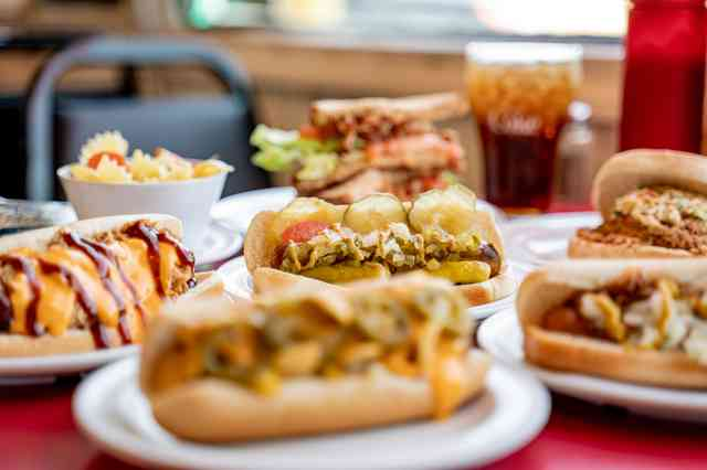 Varitey of artisan hot dogs