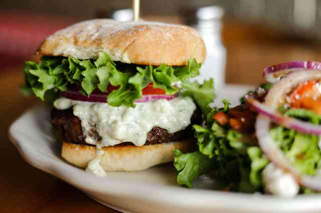 Blackened Blue Cheese Burger with a Whale Salad