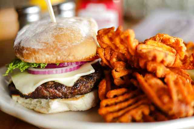 Cheddar Burger with Sweet Potato Waffle Fries